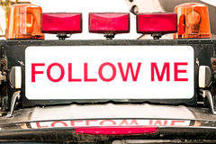 Follow me sign stock images