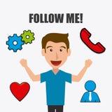 Follow me social and business Stock Photos