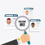 Follow me social and business theme design Stock Photos