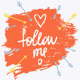 Follow me. Social net. Vector illustration on cyan background. Stock Images