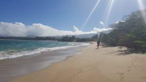Follow me. Sunbeams on the beach. Maui hawaii Stock Photos