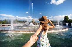 Follow me to the fountain at summer Stock Image