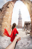 Follow me to Qutub Minar Stock Photos