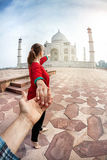 Follow me to Taj Mahal Stock Photography