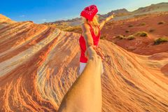 Follow me in Valley of Fire royalty free stock photos
