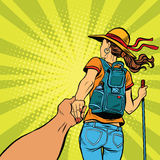 Follow me, young woman traveler with a travel backpack Royalty Free Stock Photo