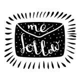Follow-mebuchstabe Handgeschriebene Ikone Blogfahne Lizenzfreie Stockbilder