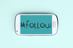 Follow Note with hashtag on mobile phone Royalty Free Stock Photography