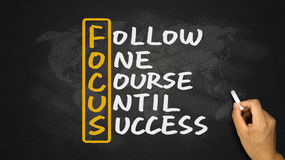 Follow one course until success handwritten on blackboard Royalty Free Stock Photos