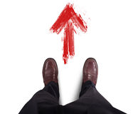 Follow right direction. Businessman find and take the success road Stock Image