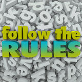 Follow the Rules Letter Background 3D Regulations Guidelines Royalty Free Stock Images