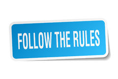 Follow the rules square sticker. On white Royalty Free Stock Photo