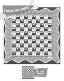 Follow the smile Black white. Visual Game for children. Task: Follow the smile. Black and white illustration Stock Photos