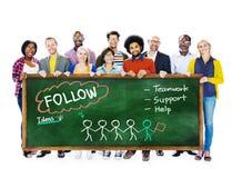 Follow Support Ideas Teamwork Social Media Concept Stock Photo