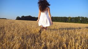 Follow to young girl running along the field under blue sky. Woman in dress jogging at the meadow and enjoying freedom. Rear back view Slow motion stock video footage
