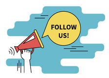 Follow us banner for social networks. Flat line contour illustration of human hand holds red megaphone Stock Photos