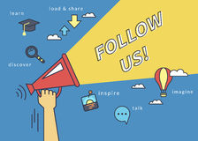 Follow us banner for social networks. Flat line contour illustration of human hand holds red megaphone Stock Photography