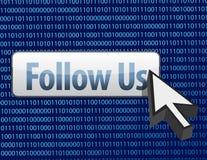 Follow us binary design and cursor Stock Images