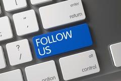 Follow Us on Blue Key of Laptop. 3D. stock image