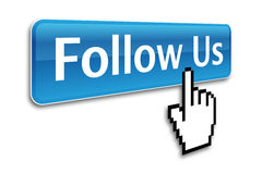 Follow us button. And hand cursor Stock Image