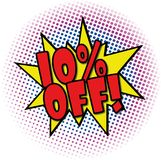 10% OFF comic explosion retro design deal tag. Follow us comic explosion with dots on white stock illustration