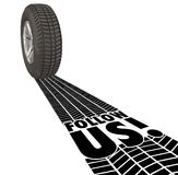 Follow Us Directions Guide Wheel Tire Tracks Leadership Royalty Free Stock Photo