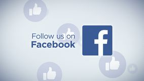 Follow Us On Facebook Loop. Seamless looping animation of Follow Us On Facebook with floating thumb icons in the background stock footage