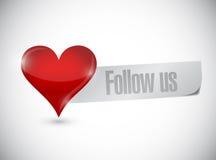 Follow us heart sign illustration design Royalty Free Stock Photo
