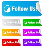Follow us,rectangular shape stickers Stock Photography