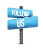 Follow us road sign illustration design Stock Photo