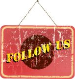 Follow us, social media sign Stock Photo