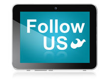 Follow us on tablet Stock Images