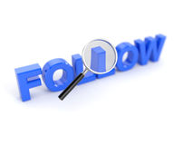 Follow word with magnifying glass. 3d render of follow word with magnifying glass Royalty Free Stock Photography