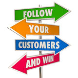 Follow Your Customers and Win Signs Meet Needs. 3d Illustration Stock Images