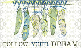 Follow your dream. Card with feathers in navajo style. Stock Photos