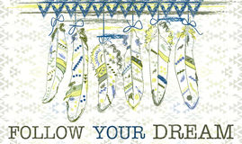 Follow your dream. Card with feathers in navajo style. Royalty Free Stock Photo