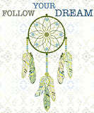 Follow your dream. Dream catcher on navajo pattern background. Stock Photography
