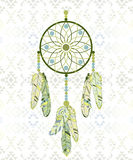 Follow your dream. Dream catcher on navajo pattern background. Royalty Free Stock Photography