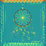 Follow your dream. Dream catcher on navajo pattern background. Stock Images