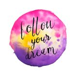 Follow your Dream hand lettering on vibrant pink and yellow watercolor background isolated on white Stock Image