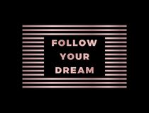 Follow Your Dream slogan, modern graphic with gold rose text and lines. Fashion vector design for t-shirt. Tee print. stock illustration