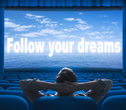 Follow your dreams phrase on screen Royalty Free Stock Photos