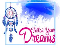 FOLLOW YOUR DREAMS words with dream catcher with paint splash backdrop. Pink and bue colors Royalty Free Stock Photography