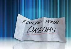 Follow your dreams. Words onabstract background Stock Photo