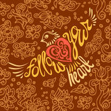Follow your heart background.Hand drawn inspiration lettering.Ca Stock Photography