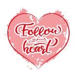 Follow your heart, postcard, lettering vector illustration