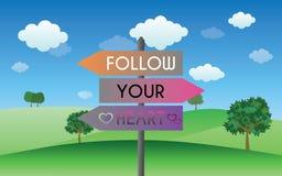 Follow your heart sign Royalty Free Stock Photos