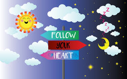 Follow your heart sign Stock Image