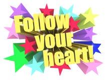 Follow Your Heart slogan. Golden text with vivid stars Royalty Free Stock Photo