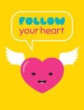 Follow your heart sticker Royalty Free Stock Image